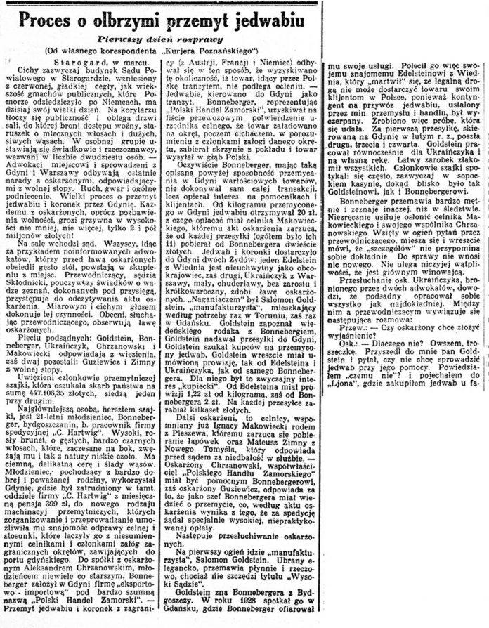 Proces o olbrzymi przemyt jedwabiu. Pierwszy dzień rozprawy // Kurjer Poznański 1930, nr 140