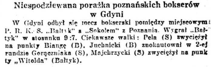Niespodziewana porażka poznańskich bokserów w Gdyni // Kurjer Warszawski. - 1938, nr 318, s. 4