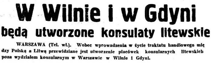 W Wilnie i Gdyni będą utworzone konsulaty litewskie // Kurjer Wileński. - 1939, nr 14, s. 3
