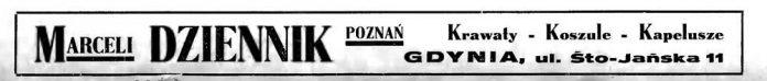 MARCELI DZIENNIK POZNAŃ Krawaty - Koszule - Kapelusze GDYNIA, ul. Śto-Jańska 11