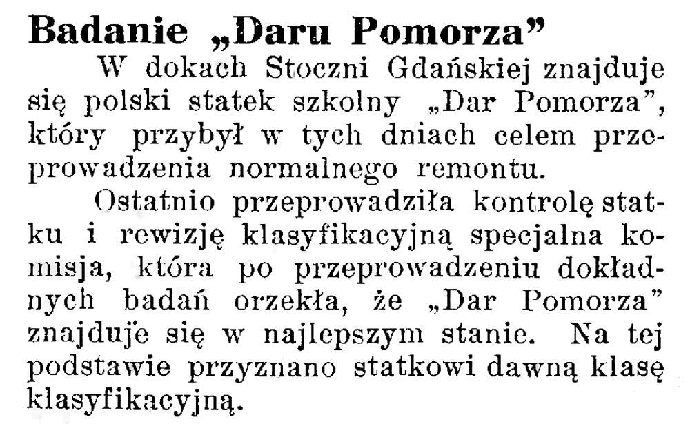 "Badanie ""Daru Pomorza"" // Latarnia Morska. - 1934, nr 25, s. 8"