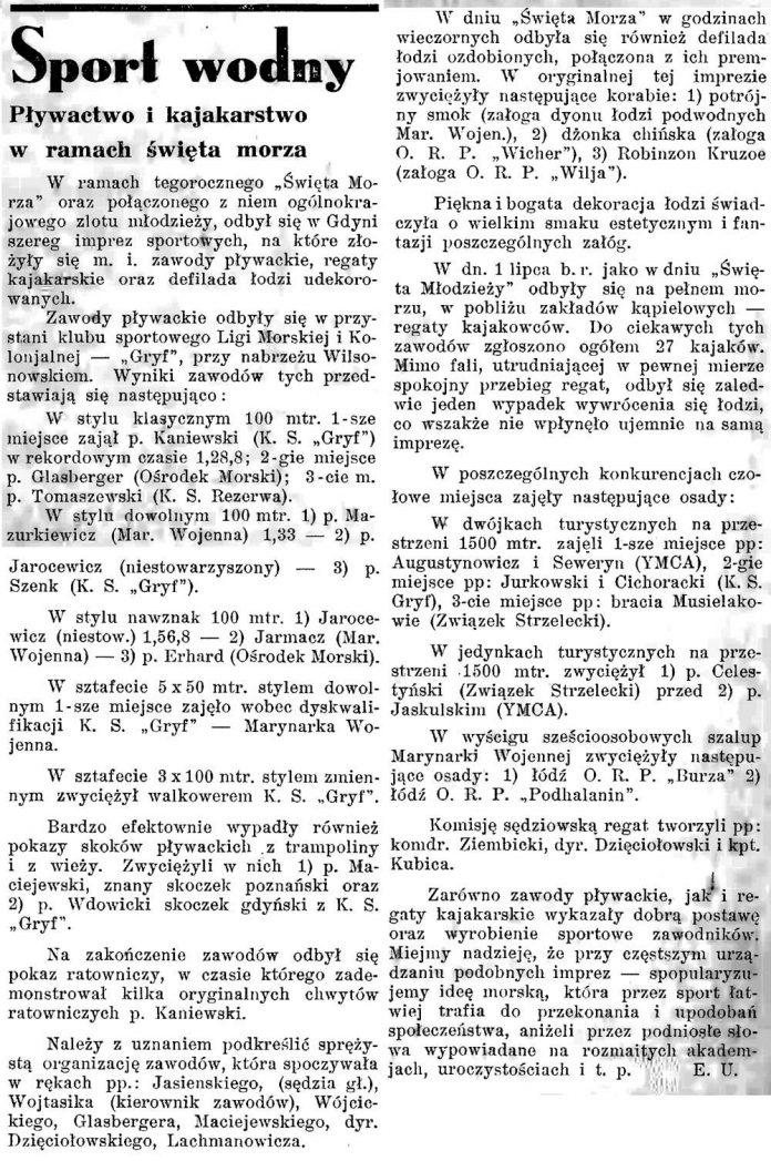 Sport wodny. Pływactwo i kajakarstwo w ramach święta morza / E.U. // Latarnia Morska. - 1934, nr 25, s. 8