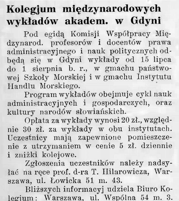 Kolegjum międzynarodowych wykładów akadem. w Gdyni // Latarnia Morska. - 1935, nr 25, s. 10