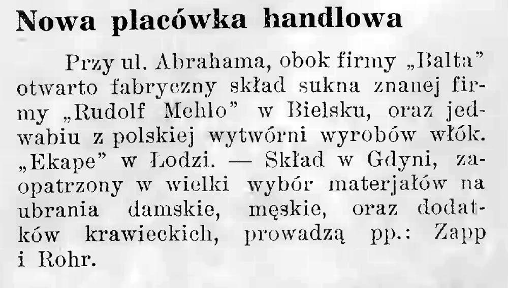 Nowa placówka handlowa // Latarnia Morska. - 1934, nr 25, s. 10