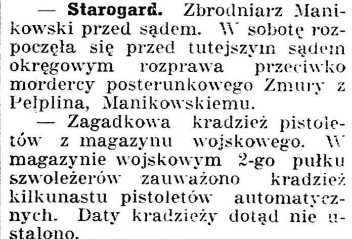Starogard [Zbrodniarz Manikowski przed Sądem] Gazeta Kartuska. - 1936, nr 6, s.3