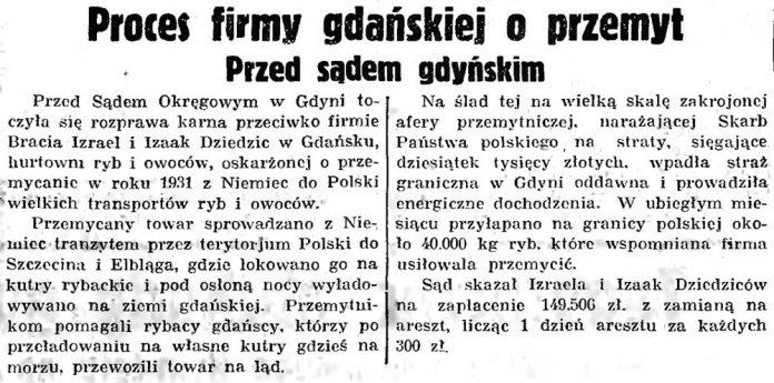 Proces firmy gdańskiej o przemy przed sądem gdyńskim // Gazeta Grudziądzka 1935, nr 272, s. 13