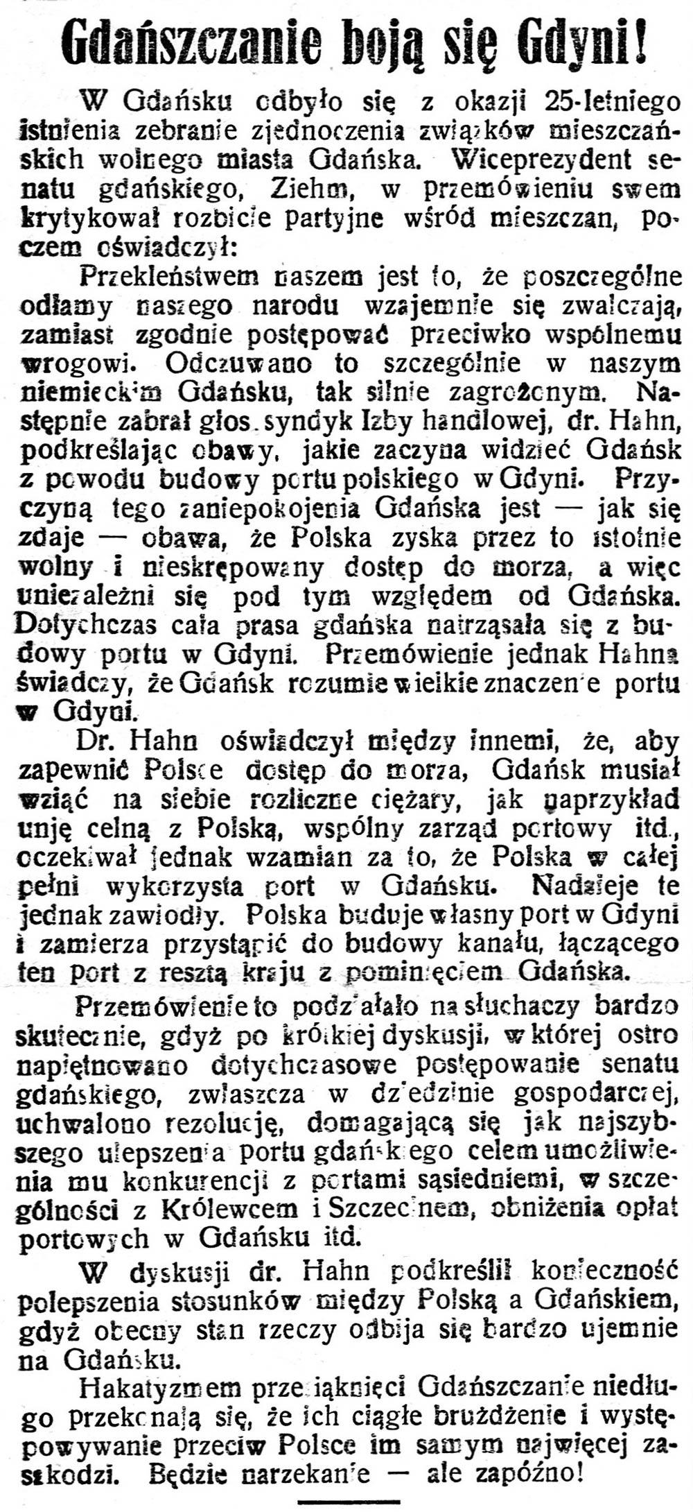 Gdańszczanie boją się Gdyni Gazeta-Kartuska-1925,-nr-72,-s
