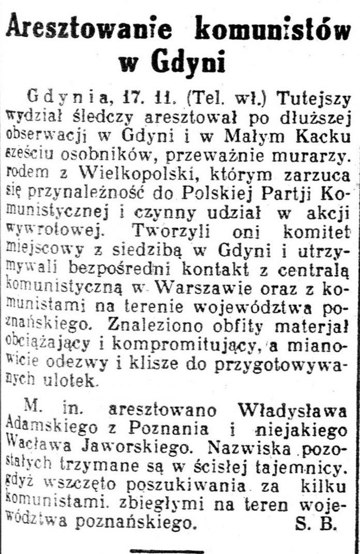 Aresztowanie komunistów w Gdyni Kurjer-Poznański-1931,-nr-531,-s