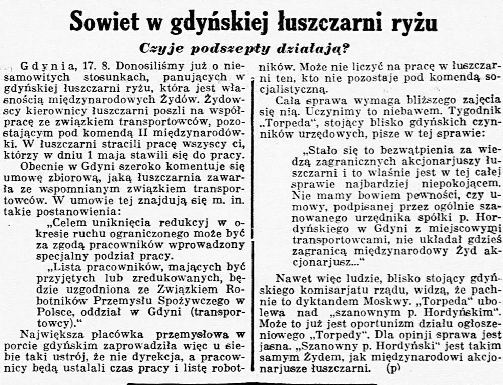 Sowiet w gdyńskiej łuszczarni ryżu. Czyje podszepty działają? Kurjer Poznański 1936, nr 280, s. 4