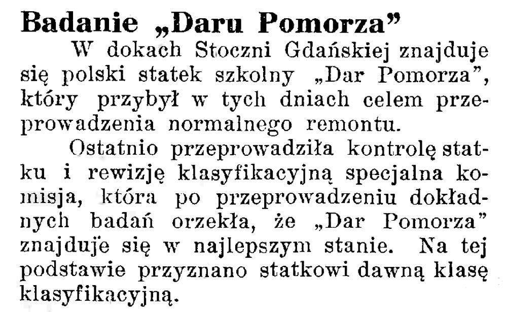 "Badanie ""Daru Pomorza"" Latarnia-Morska-1934,-nr-25,-s"