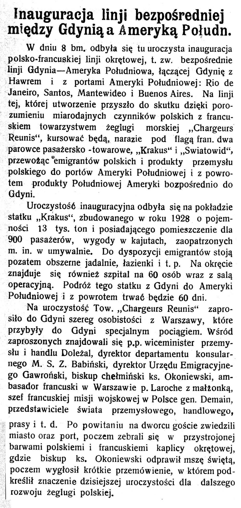 Inauguracja linji bezpośredniej między Gdynią a Ameryką Połudn. Pomorzanin-1928-nr-107,-s.-3