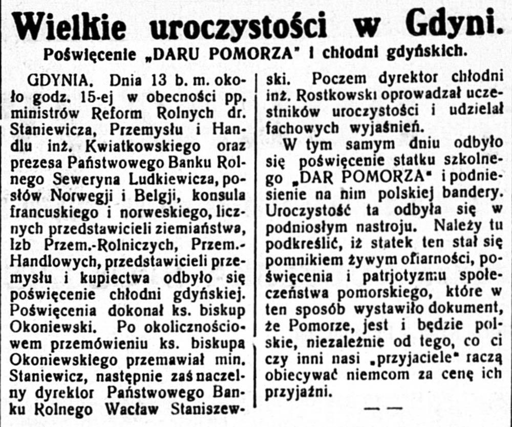 """Wielkie uroczystości w Gdyni. Poświęcenie """"Daru Pomorza"""" i chłodni gdyńskich // Ziemia Lubelska. - 1930, nr 187, s. [brak danych]"""