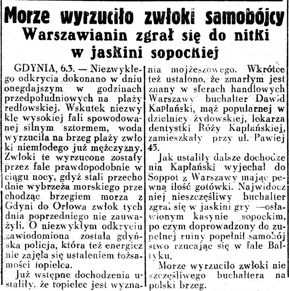 Morze wyrzuciło zwłoki samobójcy. Warszawianin zgrał się do nitki w jaskini sopockiej // Dziennik Ilustrowany. - 1937, nr 65, s. 8