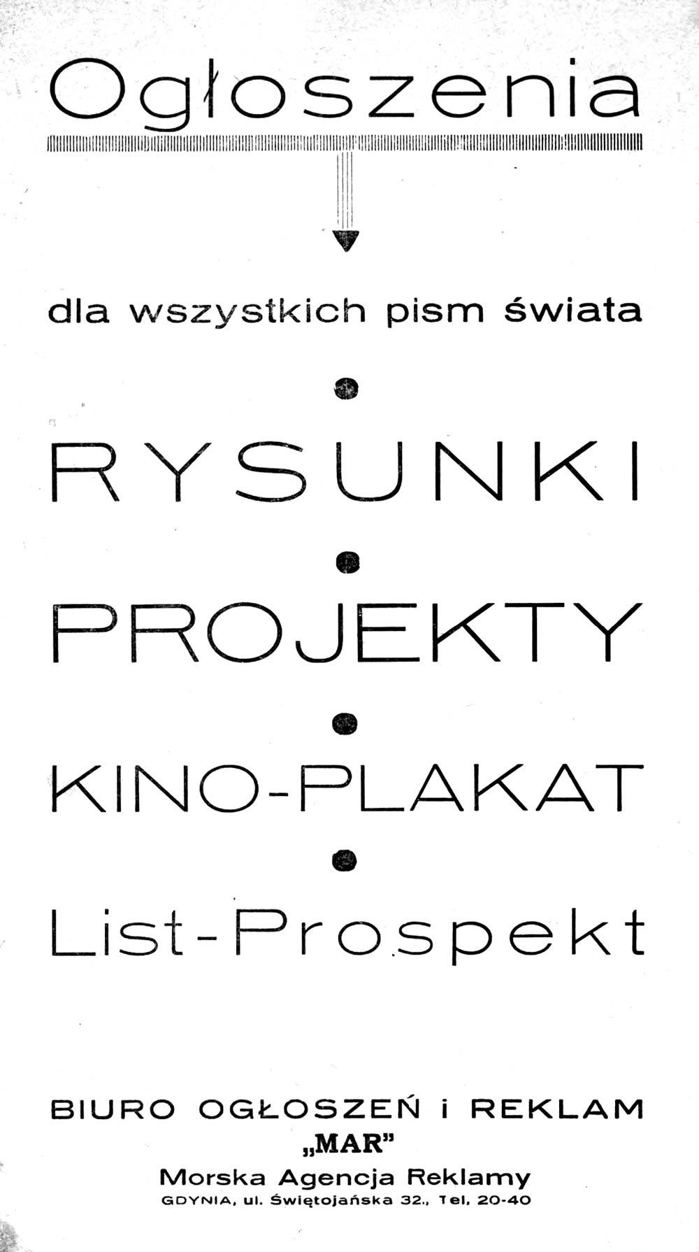 """Ogłoszenia dla wszystkich pism świata - RYSUNKI - PROJEKTY - KINO-PLAKAT - List-Prospekt Biuro OGŁOSZEŃ i REKLAM """"MAR"""" Morska Agencja Reklamy GDYNIA, ul. Świętojańska 32"""