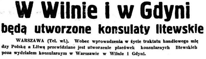 W Wilnie i w Gdyni będą utworzone konsulaty litewskie // [brak danych]
