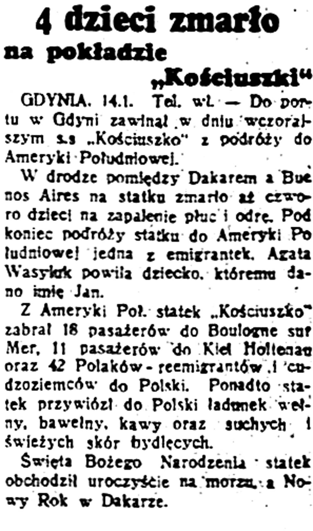 """[Statek KOŚCIUSZKO] 4 dzieci zmarło na pokładzie """"Kościuszki"""" // [brak danych]"""
