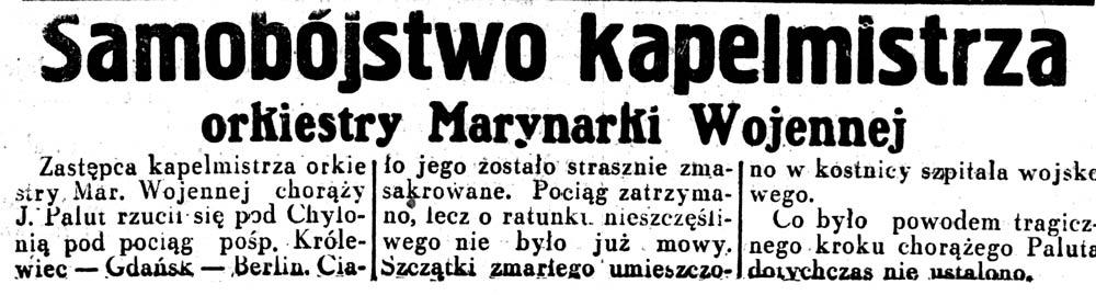 Samobójstwo kapelmistrza orkiestry Marynarki Wojennej // Dziennik Ilustrowany. - 1936, nr 11, s. 3