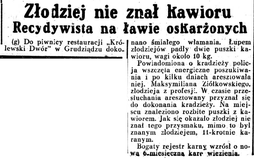 Złodziej nie znał kawioru. Recydywista na lawie oskarżonych // Dziennik Ilustrowany. - 1936, nr 11, s. 3