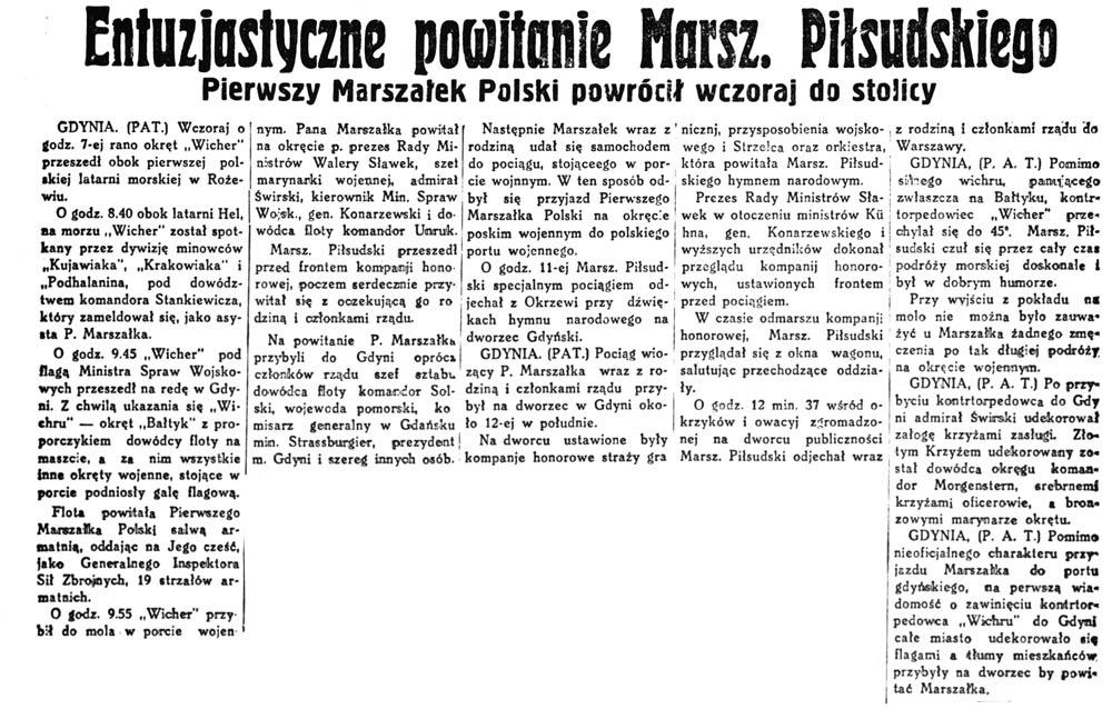 Entuzjastyczne powitanie Marsz. Piłsudskiego. Pierwszy Marszałek Polski powrócił wczoraj do stolicy // 5-ta Rano. - 1931, nr 13, s. 1