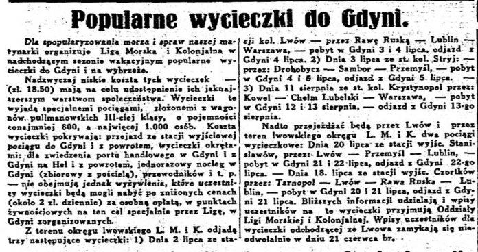 Popularne wycieczki do Gdyni // Chwila. - 1920, nr 5472, s. 3