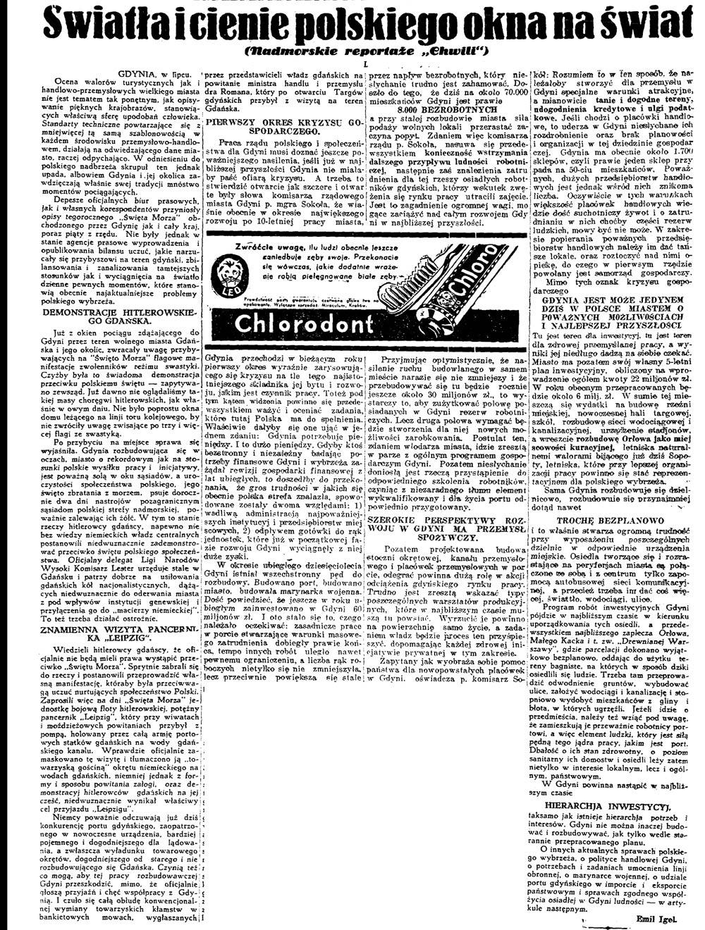 """Światła i cienie polskiego okna na świat (Nadmorskie reportaże """"Chwili"""") // Chwila. - 1936, nr 6211, s. 3"""