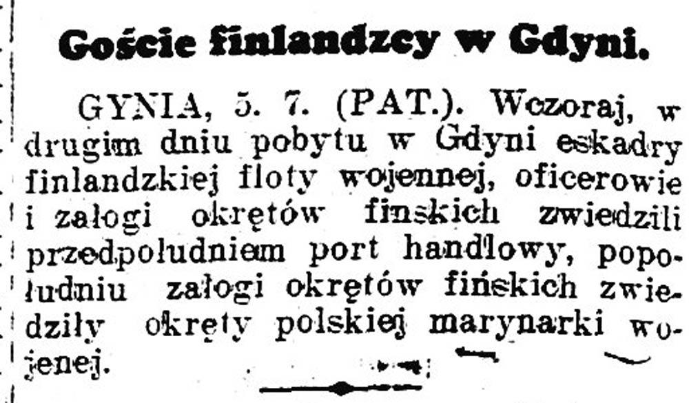Goście finlandzcy w Gdyni // Chwila. - 1936, nr 6211, s. 4