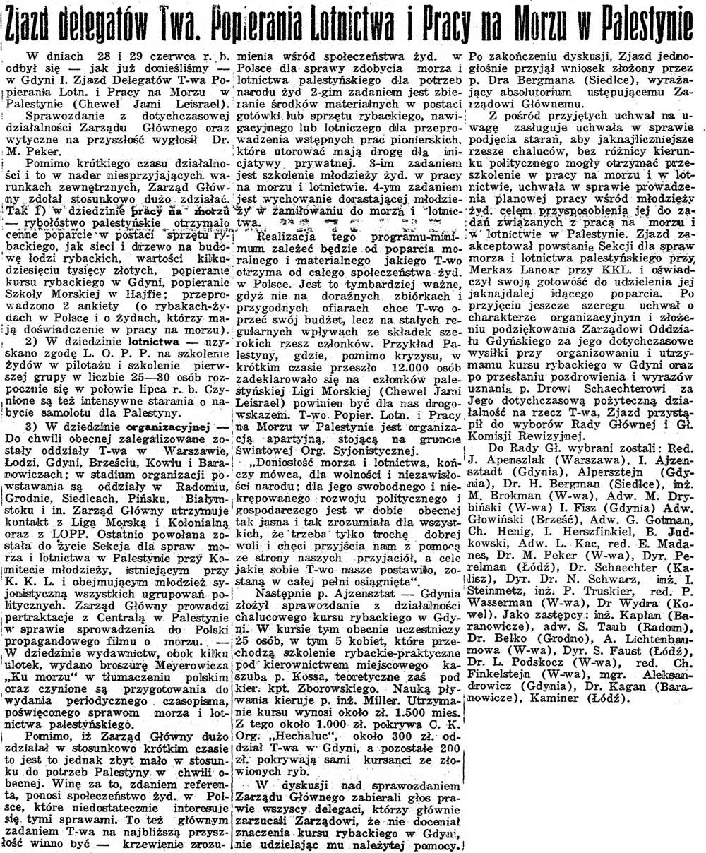 Zjazd delegatów Twa. Popierania Lotnictwa i Pracy na Morzu w Palestynie // Chwila. - 1939, nr 7286, s. 5