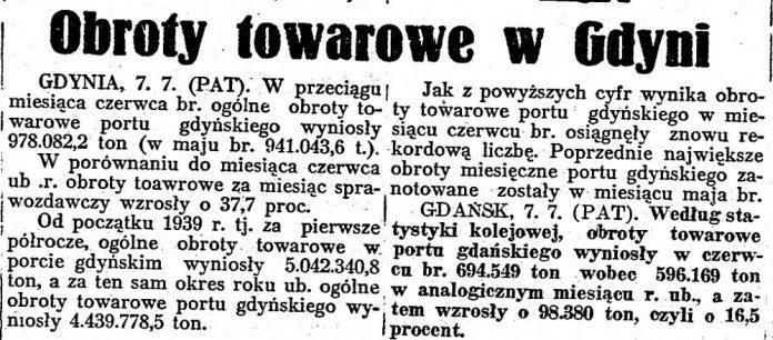 Obroty towarowe w Gdyni // Chwila. - 1939, nr 7286, s. 3