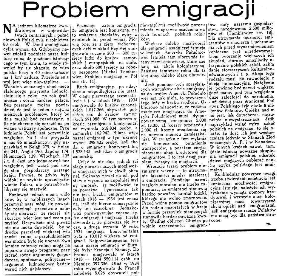 Problem emigracji // Czas. - 1936, nr 28, s. 5