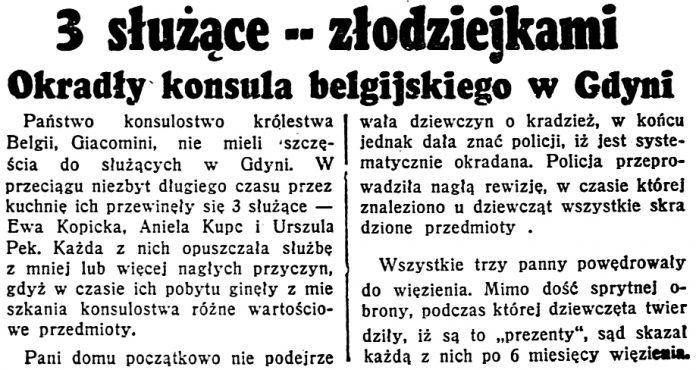 3 służące złodziejkami. Okradły konsula belgijskiego w Gdyni // Dzień Dobry. - 1938, nr 204, s. 5