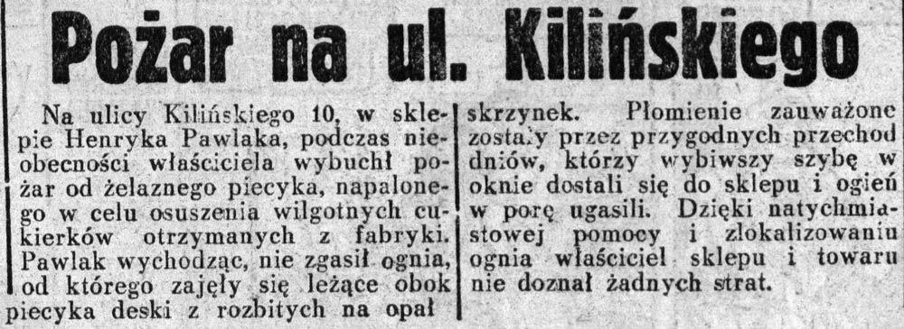Pożar na ul. Kilińskiego // Dziennik Ilustrowany. - 1937, nr 126, s. 8