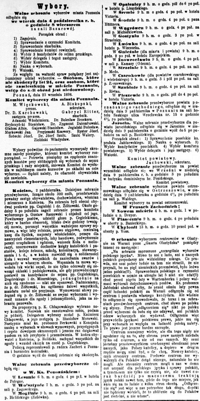 Wybory. W Chylonii 13 b.m. o godz. 10 przed poł. w oberży p. Voss // Dziennik Poznański. - 1898, nr 226, s. 2