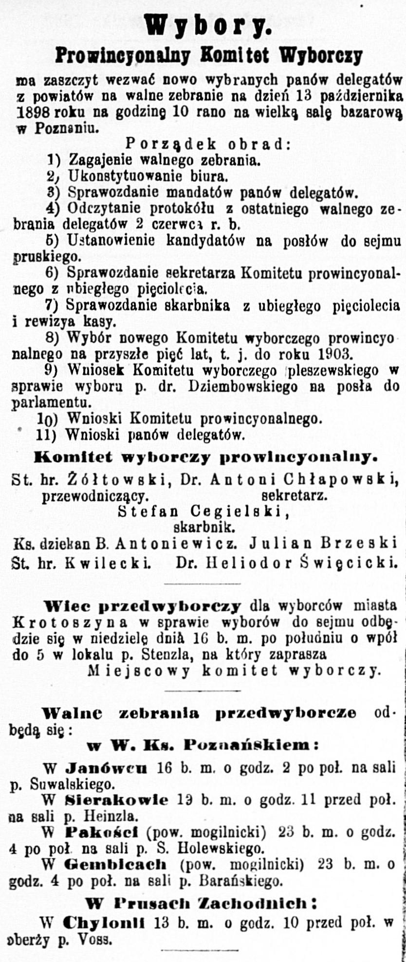 W Prusach Zachodnich: W Chylonii 13 b.m. o godz. 10 przed poł. w oberży p. Voss, [w:] Wybory Prowincjonalny Komitet Wyborczy ... // Dziennik Poznański. - 1898, nr 234, s. 2