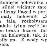 [Statek SAMBOR]   [Zatonięcie holownika w porcie] // Dziennik Poznański. – 1938, nr 294, s. 3