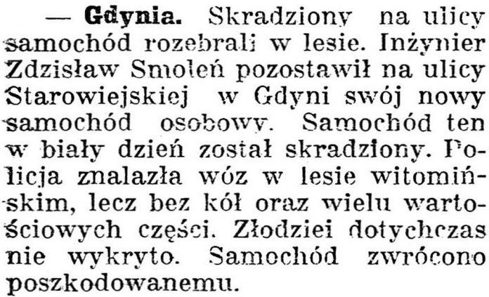 [Skradziony na ulicy samochód rozebrali w lesie] // Dziennik Poznański. - 1938, nr 294, s. 3