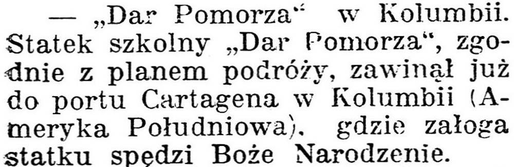 """[Statek """"Dar Pomorza""""] [""""Dar Pomorza"""" w Kolumbii] // Dziennik Poznański. - 1938, nr 294, s. 3"""