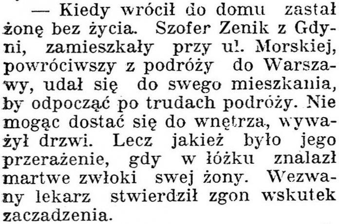 [Kiedy wrócił do domu zastał żonę bez życia] // Dziennik Poznański. - 1938, nr 294, s. 3
