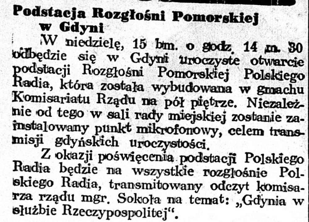 Podstacja Rozgłośni Pomorskiej w Gdyni // Dziennik Poznański. - 1939, nr 12, s. 3