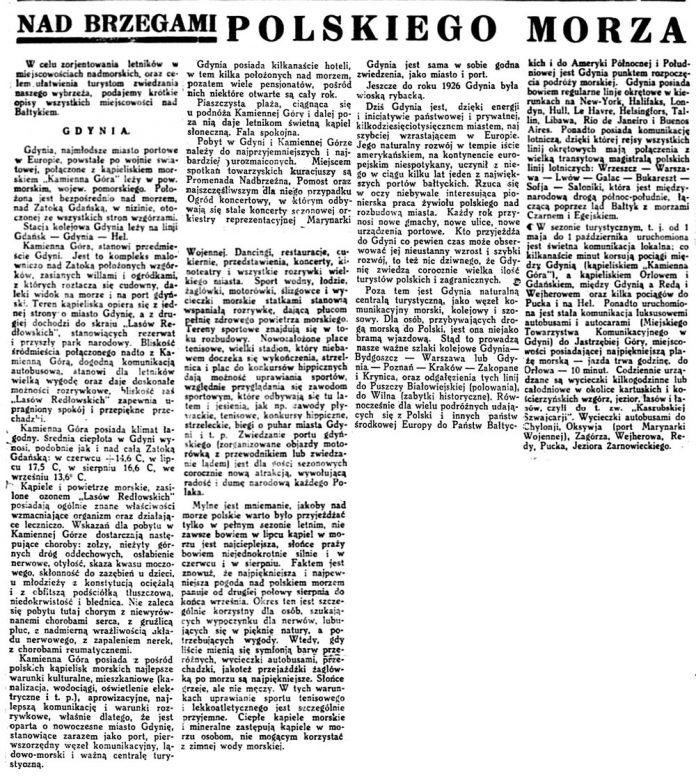 Nad brzegami polskiego morza // Dziennik Wileński. - 1932, 10 lipca, dodatek Życie