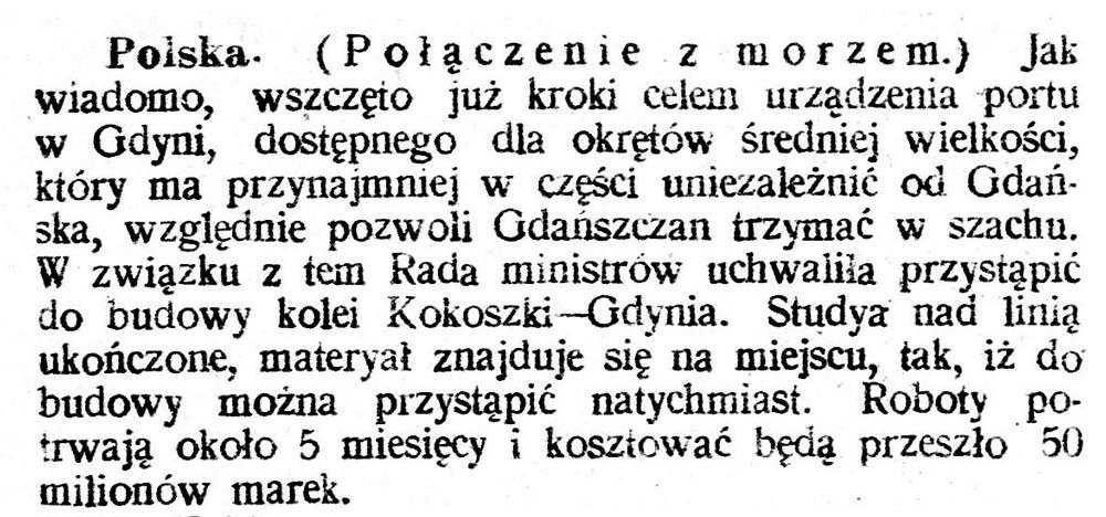 [Połączenie z morzem] // Głos Śląski. - 1920, nr 134, s. 1