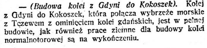 [Budowa kolei z Gdyni do Kokoszek // Głos // Głos Śląski. - 1920, nr 144, s. 3