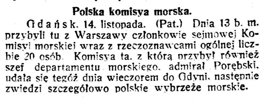 Polska komisya morska // Głos Śląski. - 1920, nr 138, s. 1