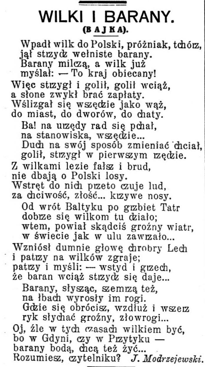 WILKI I BARANY (Bajka) // Gazeta Świąteczna. - 1936, nr 2890, s. 6