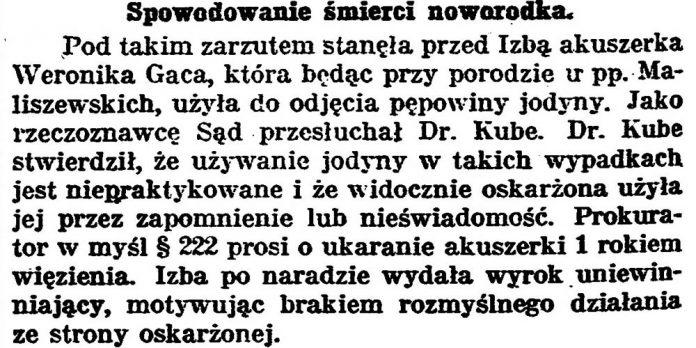 Spowodowanie śmierci noworodka // Gazeta Bydgoska. - 1925, nr 134, s. 2