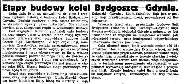 Etapy budowy kolei Bydgoszcz-Gdynia // Gazeta Bydgoska. - 1925, nr 134, s. 1
