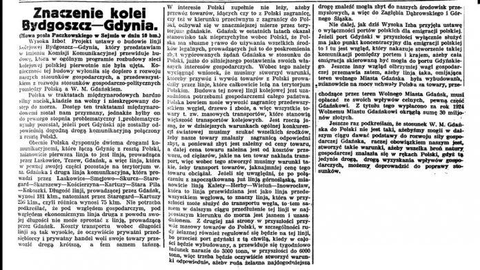 Znaczenie kolei Bydgoszcz - Gdynia // Gazeta Bydgoska. - 1925, nr 134, s. 1