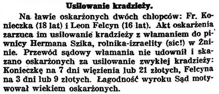 Usiłowanie kradzieży // Gazeta Bydgoska. - 1925, nr 134, s. 2