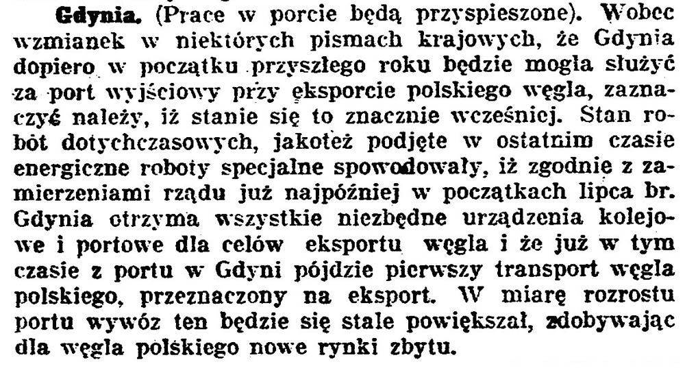 [Prace w porcie będą przyspieszone] // Gazeta Bydgoska. - 1925, nr 134, s. 2