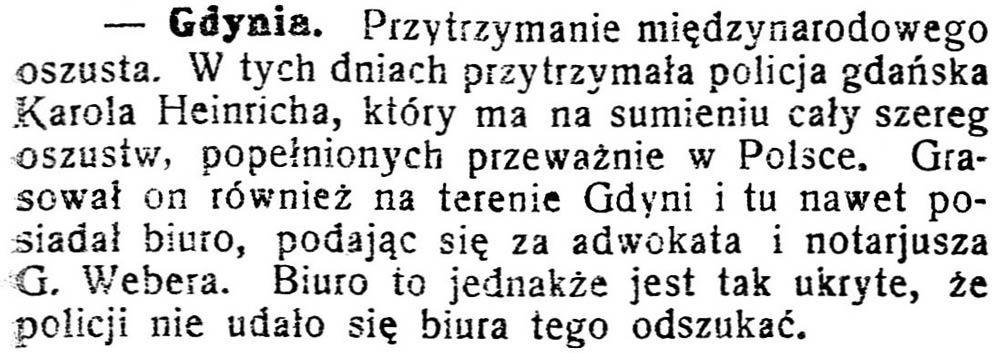 [Przetrzymanie międzynarodowego oszusta] // Gazeta Kartuska. - 1929, nr 74, s. 3