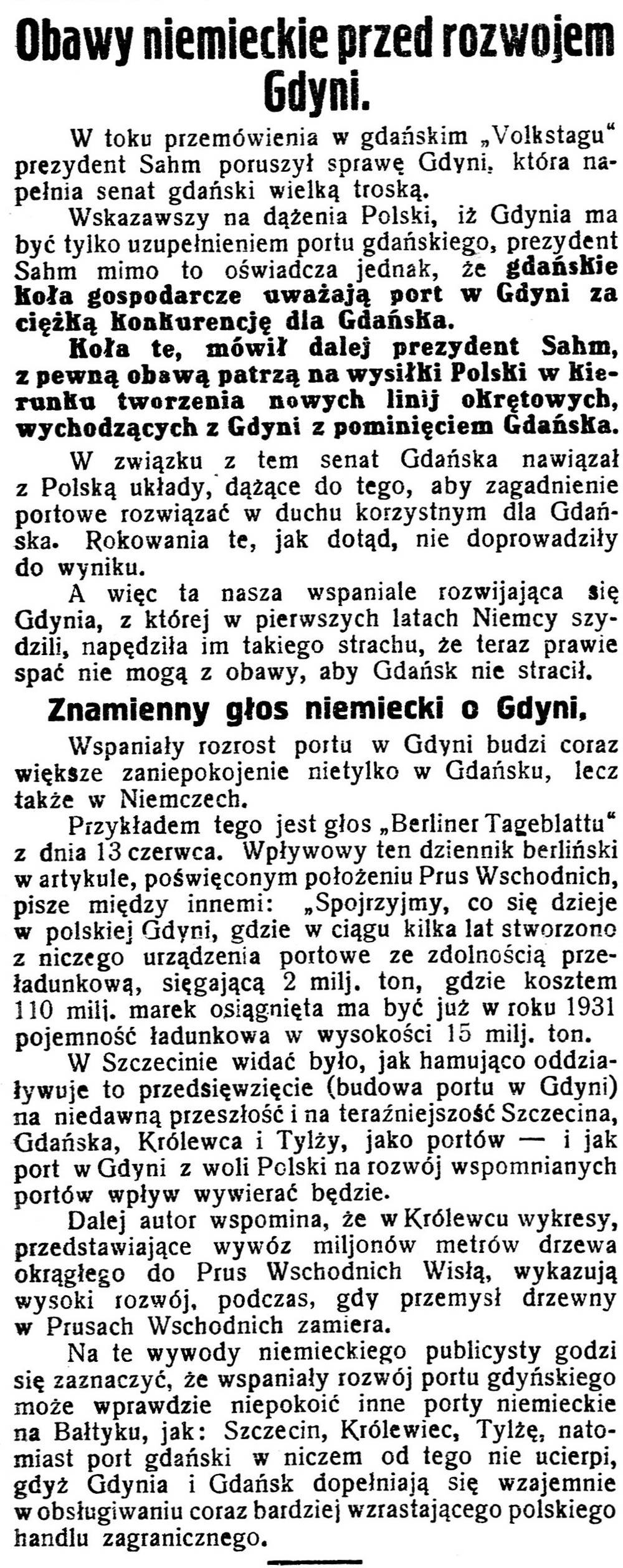 Obawy niemieckie przed rozwojem Gdyni //Gazeta Kartuska. - 1929, nr 74, s. 3